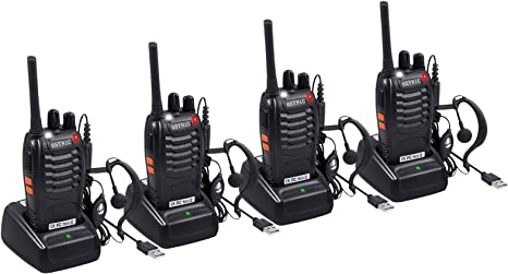 eSynic AMTOVLEU 4pcs Walkie Talkies-2 way radio Long Range Walkie Talkie with 4 Pcs Original Earpieces Walky Talky 16CH Single Band Supports VOX LED Light Voice Prompt for Biking and Hiking