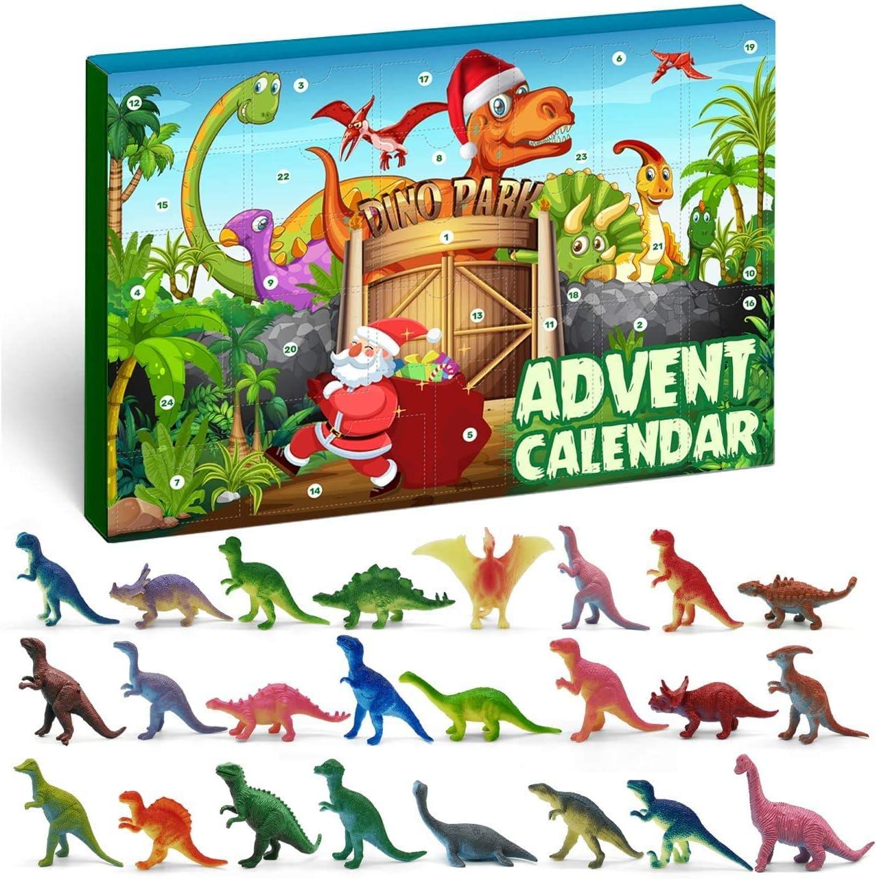 iZoeL Calendario de adviento de dinosaurio para niños 2020, Navidad, 24 figuras de dinosaurios, juego con cuenta atrás para días de Navidad, regalo sorpresa para niños, hijo, nieto, hermano, sobrino