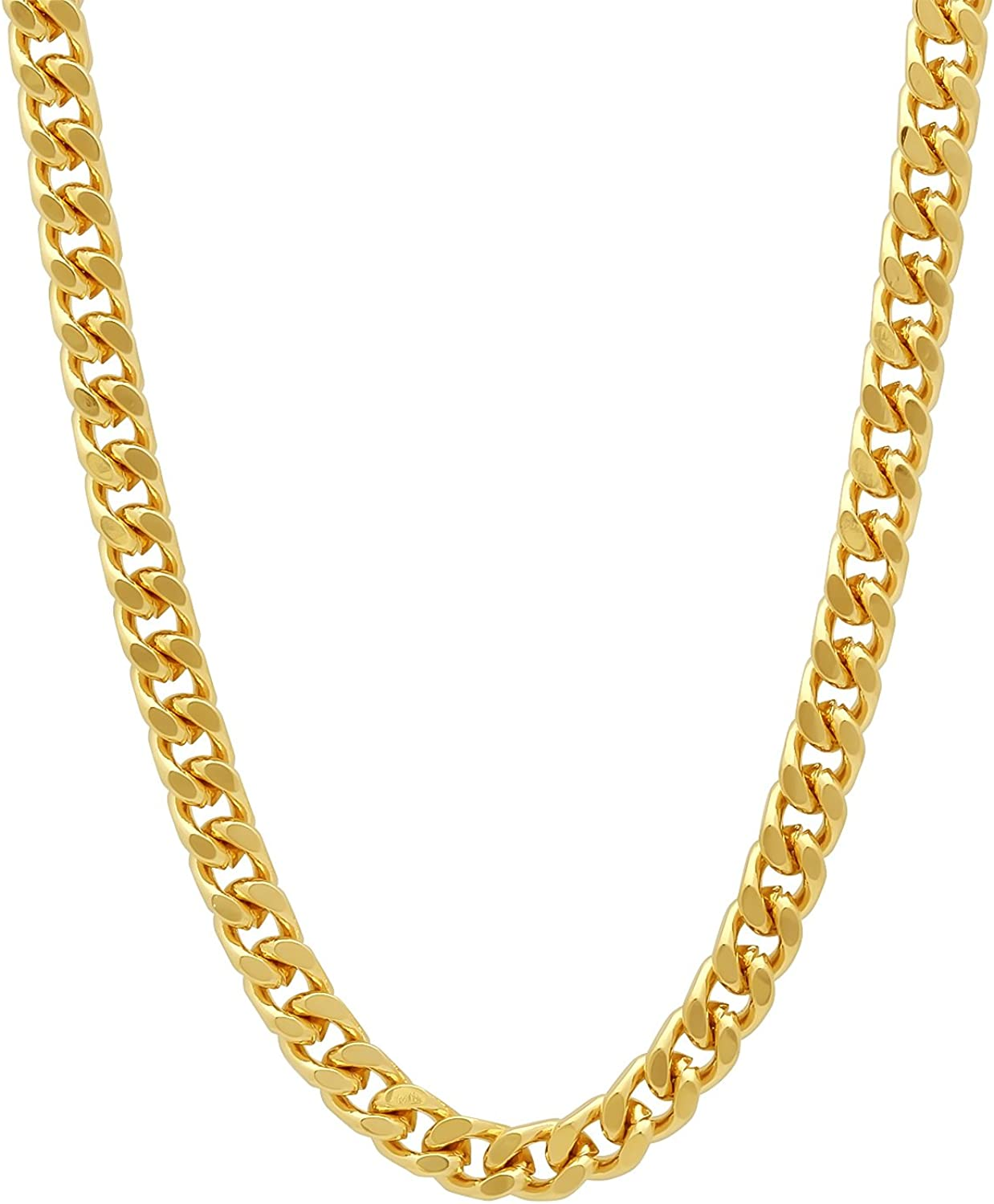The Bling Factory 5mm 0.25 mils (6 microns) 14k Yellow Gold Plated Beveled Curb Chain Necklace, 7'-30 + Jewelry Cloth & Pouch