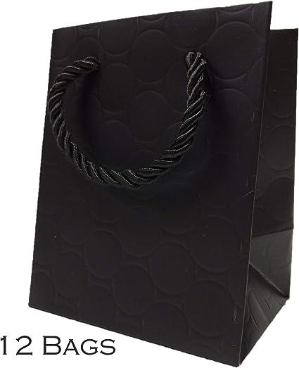 Amazon.com: Bolsas de regalo extra pequeñas negras con asas ...