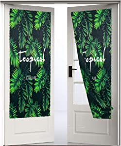 Fashion Printed Door Curtains,Self-Adhesive Door Curtain Portable Blackout Curtains are Suitable for Doors and Windows , Tropical Plants Double-Sided Printing Door Curtain Heat Insulation 1 Piece