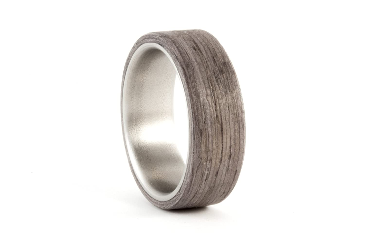 Amazon Men's Titanium And Bentwood Ring Wooden Grey Wood Wedding Band Water Resistant Very Durable Hypoallergenic 005007n Handmade: Wood Wedding Band Made At Websimilar.org