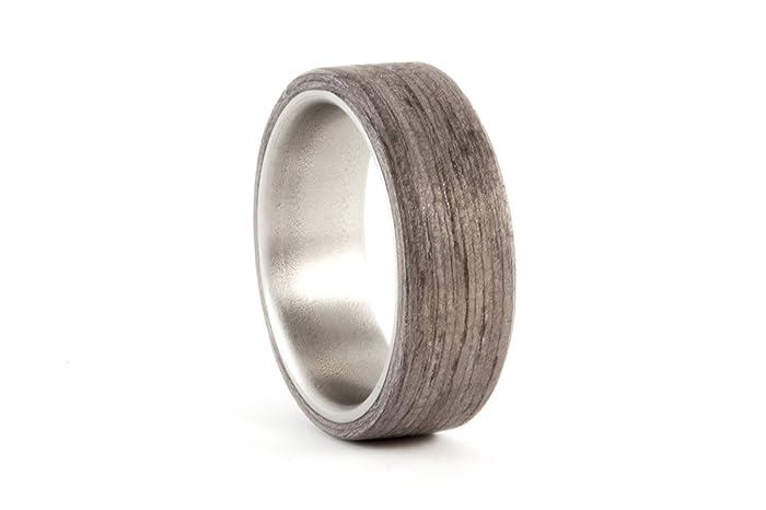 Amazoncom Mens titanium and bentwood ring Wooden grey wood