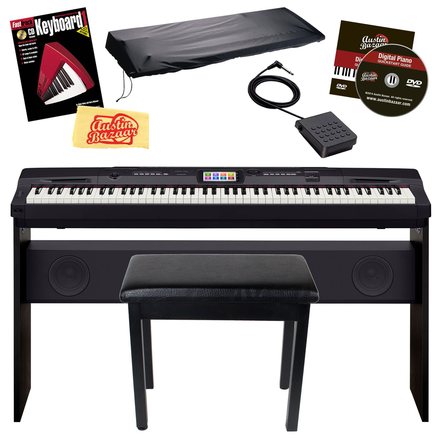 Casio CGP-700BK 88-Key Compact Grand Digital Piano Bundle with Furniture-Style Bench, Dust Cover, Instructional DVD, Instructional Book, Sustain Pedal, and Polishing Cloth - Black by Casio