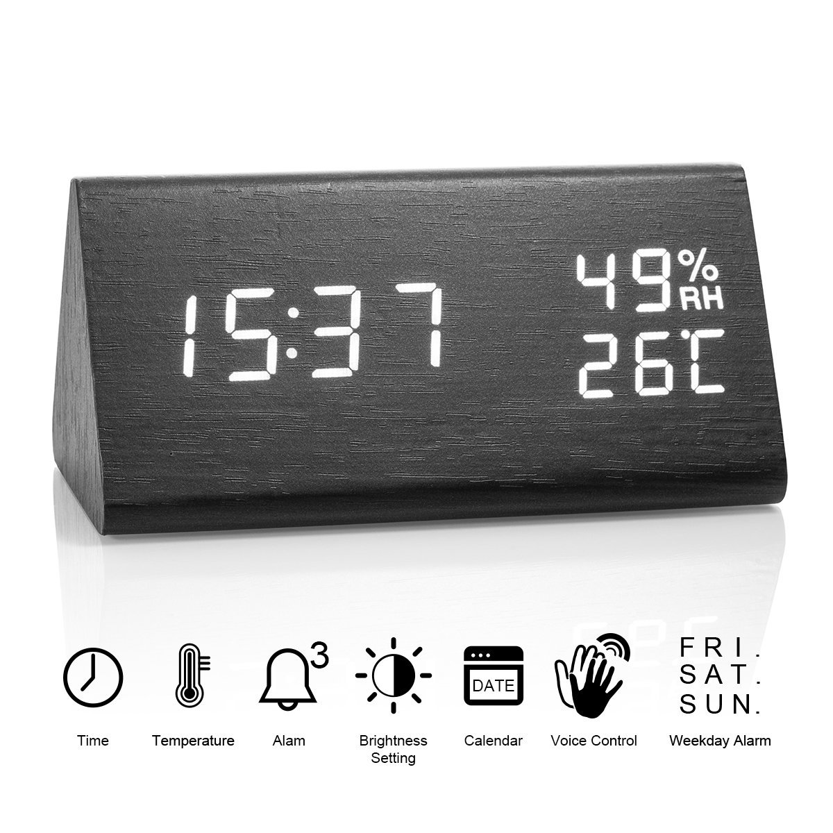 Idealin Alarm Clock Wooden made LED Display with 3 Level Brightness Dimmer Temperature Humidity USB Port for Charging Ideal for Home and Office