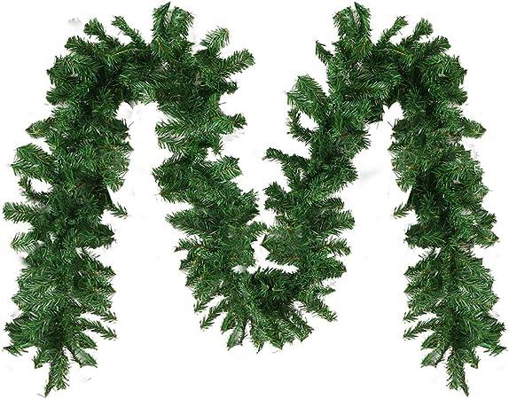 New_Soul Guirnalda de Navidad de Lujo de 2,7 m, 220 Puntas, Color Verde Liso, Guirnalda de Navidad para chimeneas y escaleras: Amazon.es: Hogar