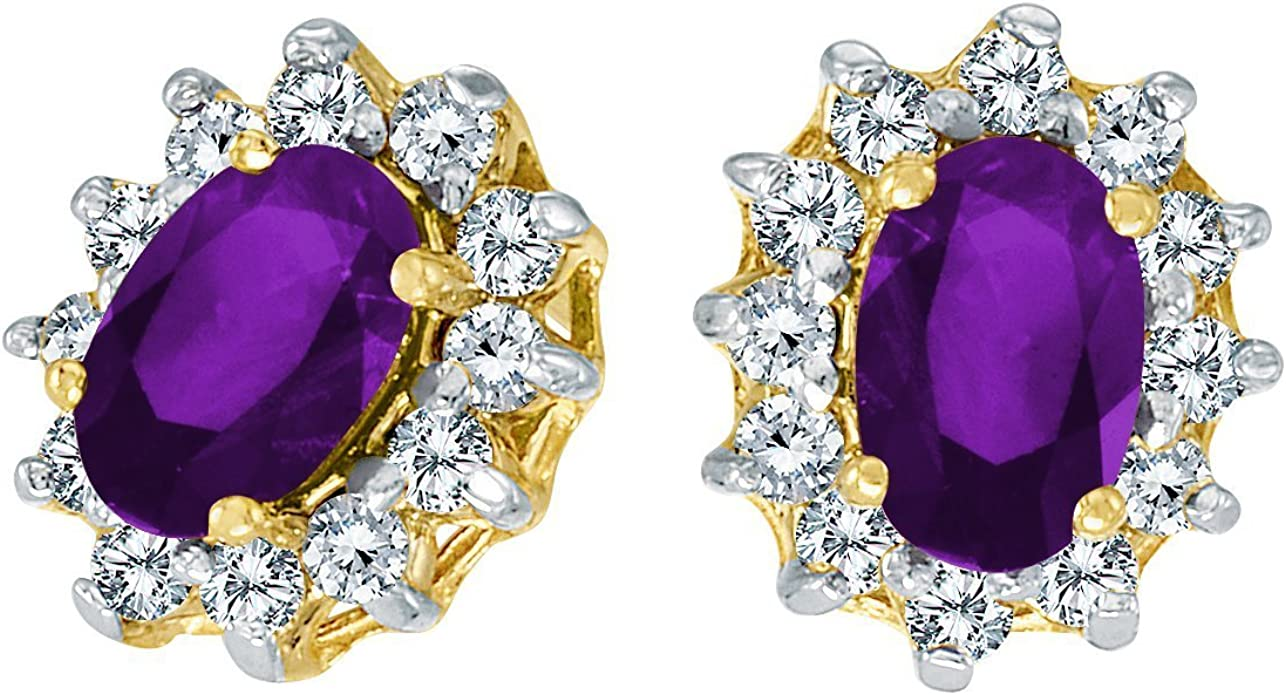 FB Jewels Solid 10k White Gold Studs Oval Gemstone Earrings