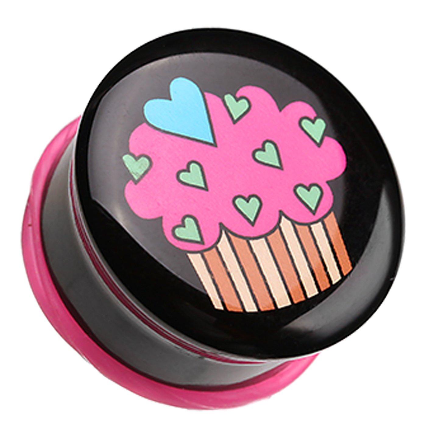 Heartful Cupcake Single Flared Ear Gauge Plug Sold as a Pair