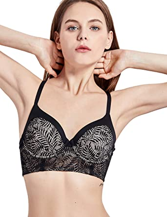 f8f5e06e254b6 DOBREVA Women s Lace Underwire Full Coverage Longline Bra Mini Bustier  Black Wired   Lightly Lined 32A