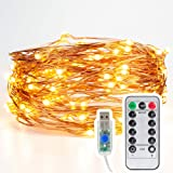DistrictMaster USB Powered 10 M 100 LED Battery Box and Remote and 8 Function Warm String Light Fairy Lights for Diwali/Festival/Wedding/Gifting/Xmas/New Year-Warm White (Pack of 1)