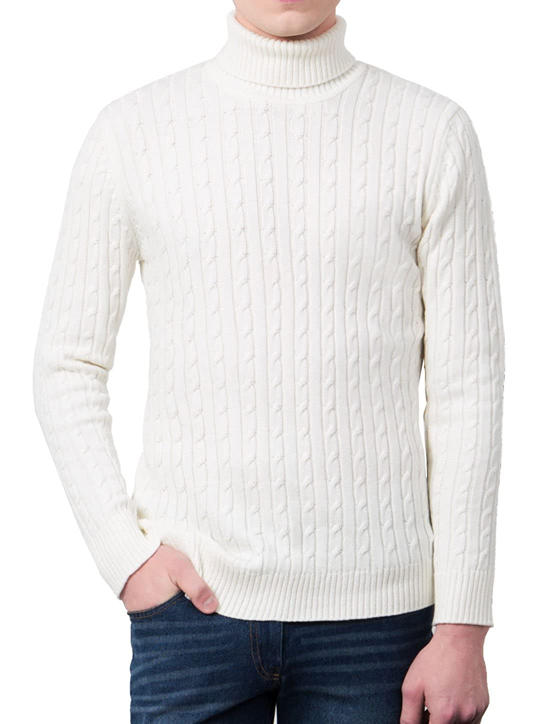 uxcell Men Casual Turtleneck Sweater Solid Knitted Cable Sweater Pullover