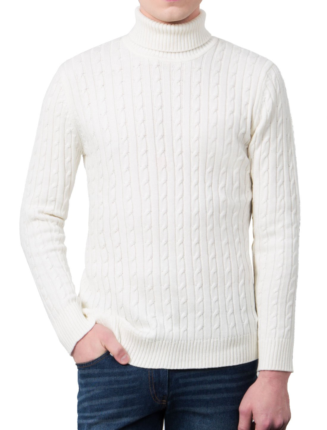 Allegra K Men Turtle-neck Long Sleeves Cable Knitted Sweater L Off White