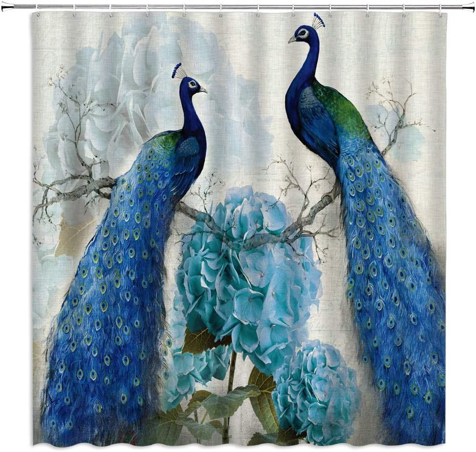 Lileihao Peacock Shower Curtains Blue Beautiful Bird Flower Plant Watercolor Pattern Print Bathroom Decor Home Bath Bathtub Cloth Hanging Curtain Set Polyester