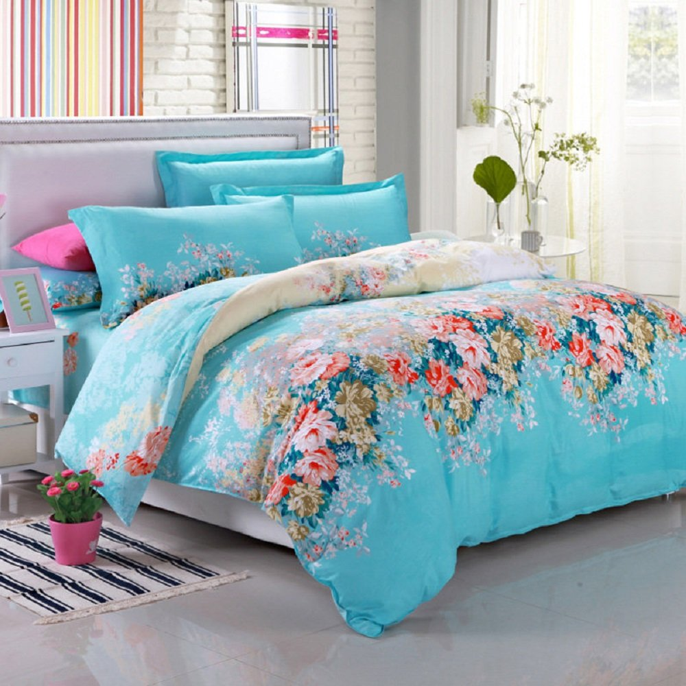 100% Cotton 3-Piece Blue Flowers Printed Duvet Covers Sets for Girls (1 Duvet Cover+1 Bed Sheet + 2 Pillowcases) Full
