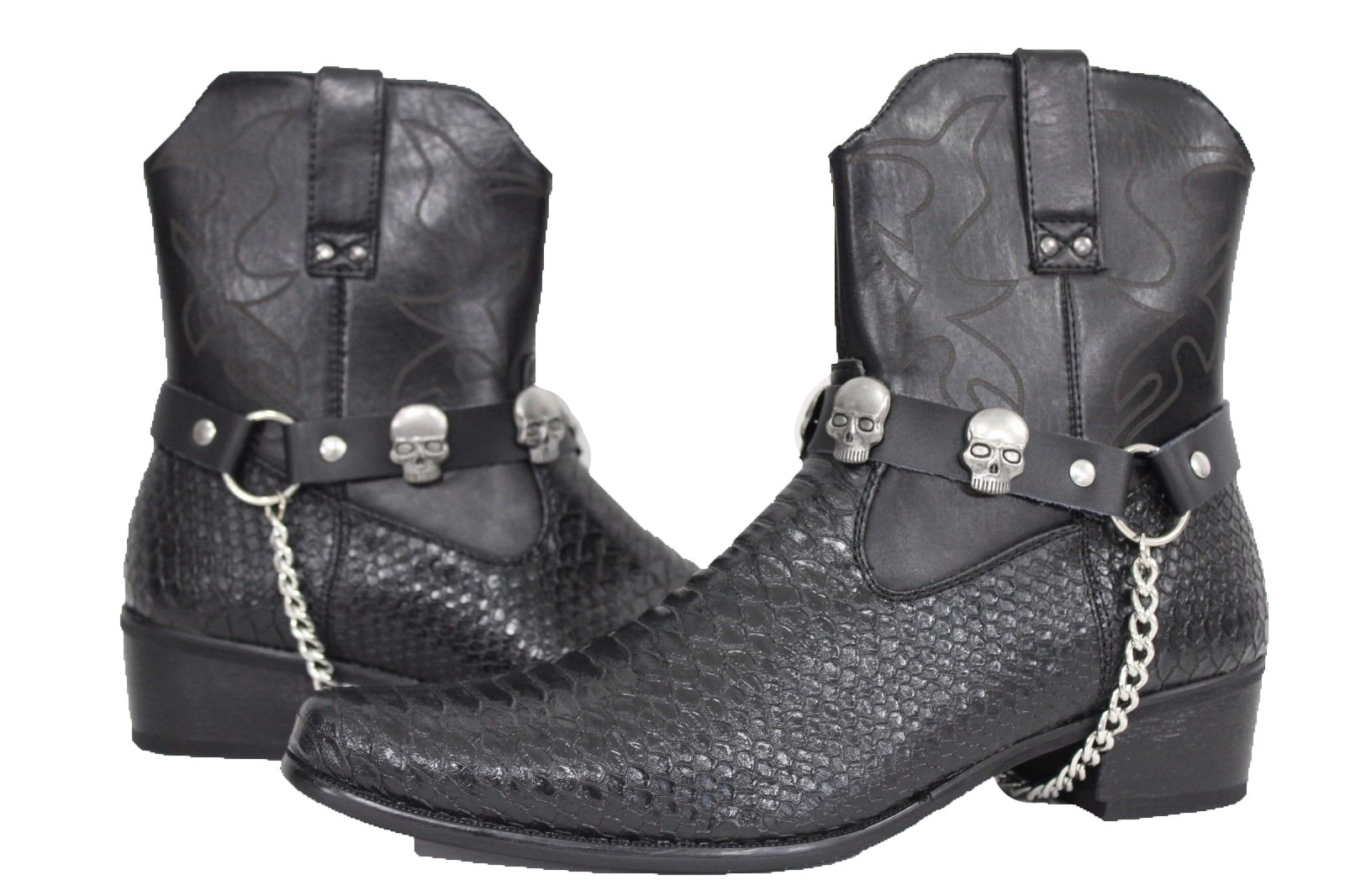 TFJ Men Biker Fashion Black Boot Straps Pair Silver Skulls Shoe Skeleton Charms Motorcycle