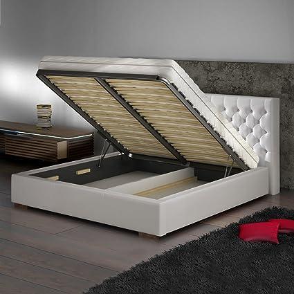 Cama acolchada Leeds de piel sintética cama con somier de ...