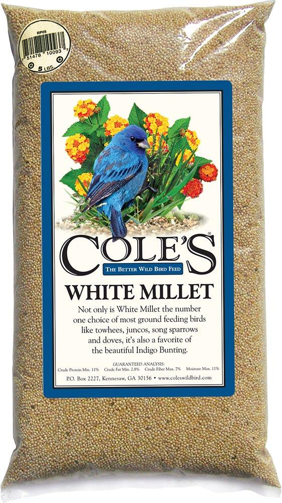 Cole's Wild Bird Products MI20 White Millet Bird Seed, 20-Pound