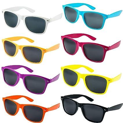Comius Sharp Gafas Sol Fiesta, 8 Pack Gafas de Sol Retro de Neón Gafas de Fiesta de Piscina Favores de Fiesta de los Años 1980 para Adultos Mujer ...