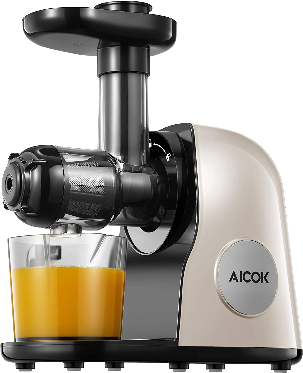 Juicer Machines, Aicok Slow Masticating Juicer Extractor Easy to Clean, Quiet Motor & Reverse Function, BPA-Free, Cold Press Juicer with Brush, Juice Recipes for Vegetables and Fruits, Ivory White