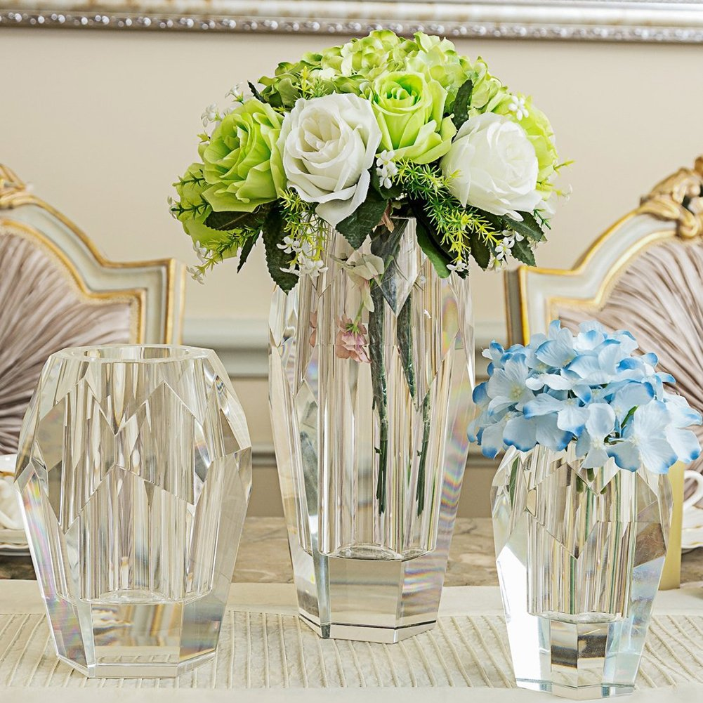 Vase cubique en verre avec bo/îte cadeau Donoucls Vase soliflore en cristal