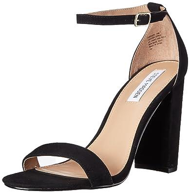 Steve Madden Women's Carrson Heeled Sandal, Black Suede, ...