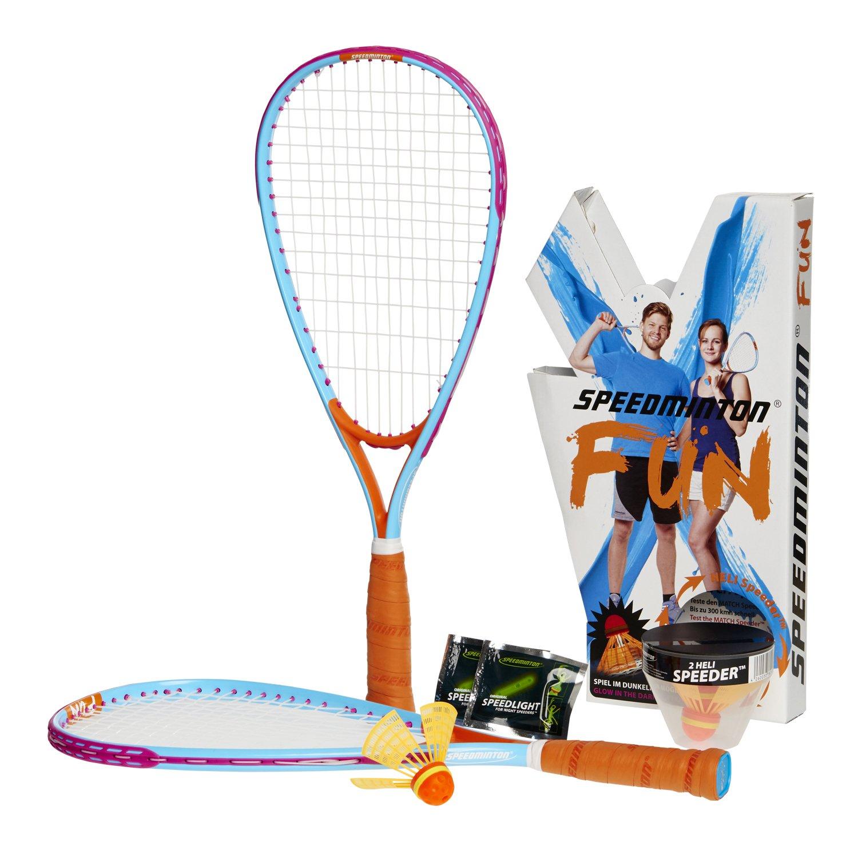 FUN Set - Alternative to beach ball, spike ball, badminton, incl. 2 HELI Speeder, perfect for the beach, park or backyard Speedminton 505586