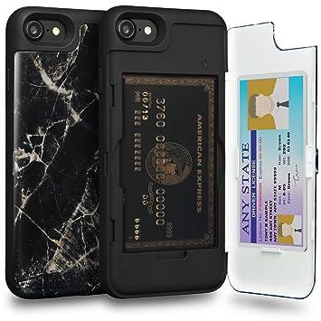 TORU CX Pro Funda iPhone 8 Carcasa Cartera Diseño con Tarjetero Oculto y Espejo para Apple iPhone 8 / iPhone 7 - Mármol Negro