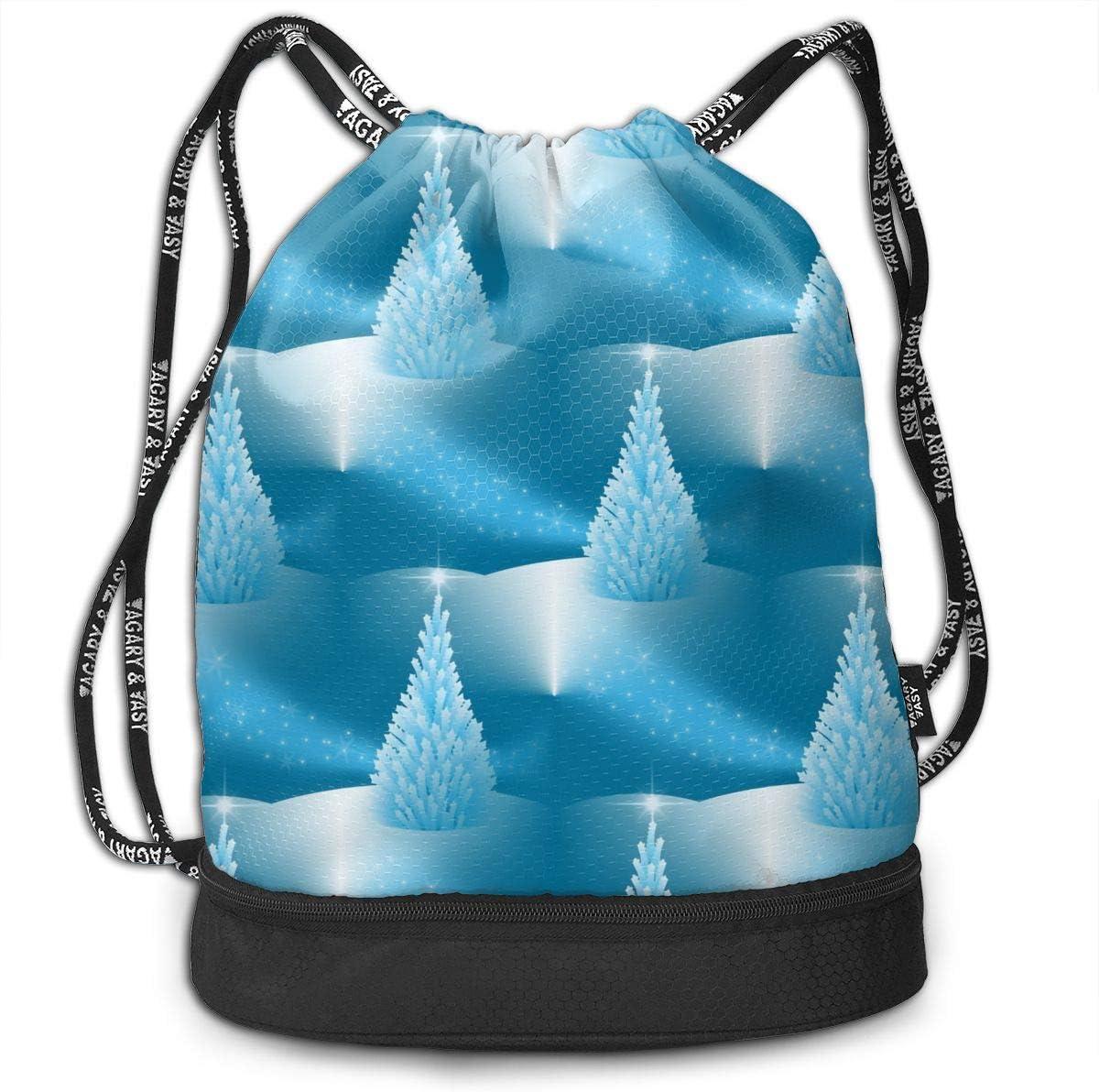 Drawstring Backpack Holiday Snow Rucksack