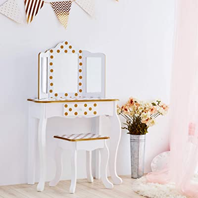 Teamson Kids Pretend Play kids Vanity Table and Chair Vanity Set with Mirror Makeup Dressing Table with Drawer Fashion Polka Dot Prints Gisele Play Vanity Set White Gold: Kitchen & Dining