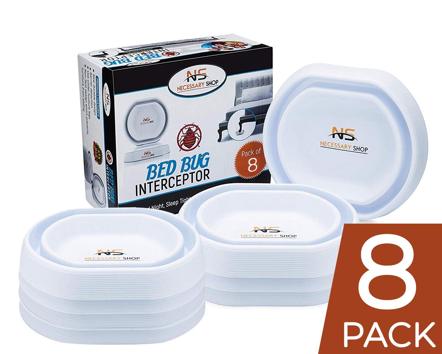 Necessary Shop Bed Bug Traps & Insect Control Protectors | Eco-Friendly Baby Safe New Durable Design of Bedbug Interceptors with Easy Detection & Prevention Against Bed Bugs Crawling Up Your Bed Legs by Necessary Shop