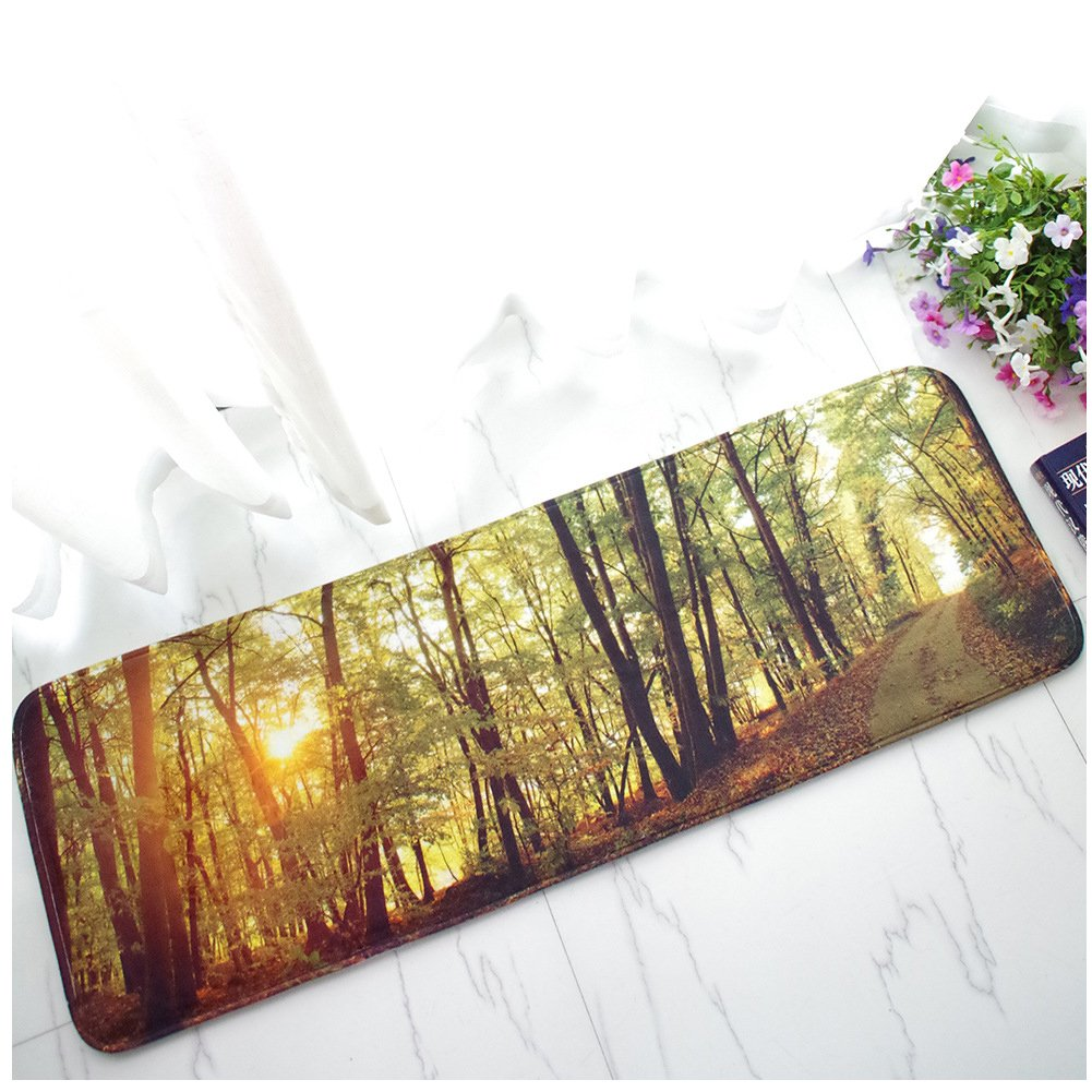 WSHINE 15.7''47.2'' Flannel Forest Kitchen Mat Non-Slip Backing Doormat Window Room Runner Rug