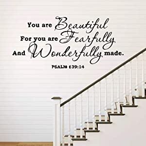 You are Beautiful for You are Fearfully and Wonderfully Made -Psalm 139:14 Wall Decal Sticker, Vinyl Verses Bible Prayer Wall Decor. Inspirational Quote Stickers Sayings Words Art Decor