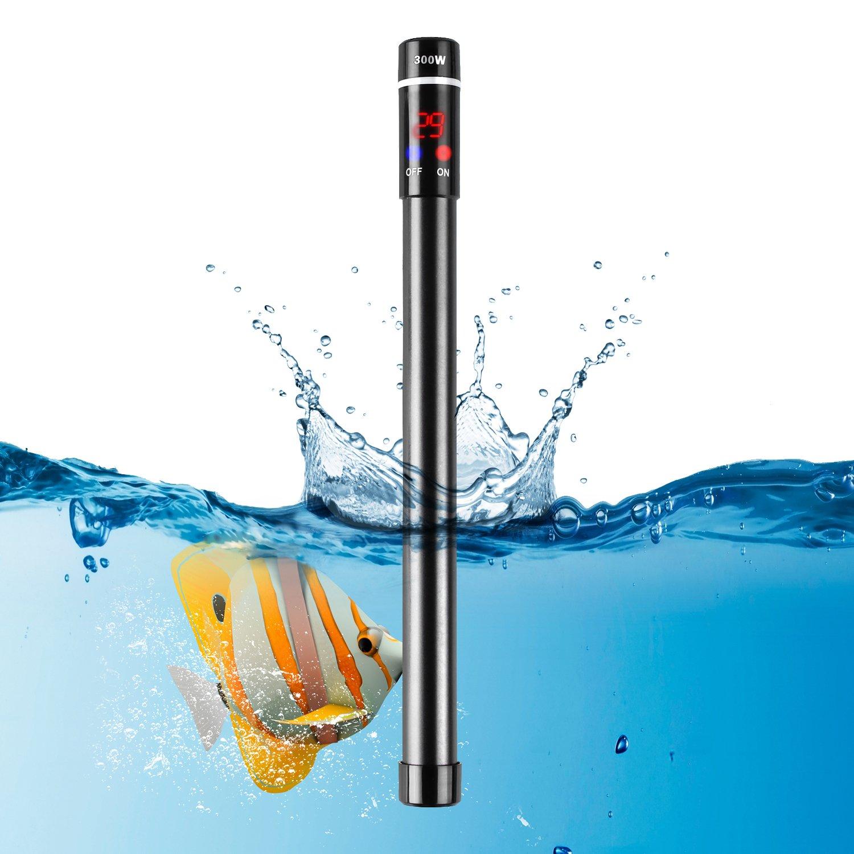 MVPOWER 300W Chauffage pour Aquarium Titanique Automatique Submersible Anti-déflagrant et Anti-brûlure, Durable, Sûr de 20 à 34℃avec Indicateur LED Convient à l'Eau Douce et l'Eau de Mer - CE/ROHS/FCC