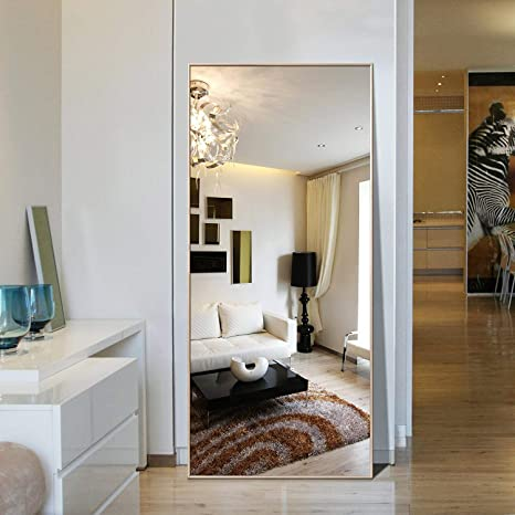 Amazon Com Full Length Mirror Large Floor Full Mirror Gold 65 X24 Kitchen Dining