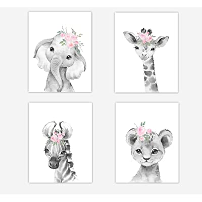 Baby Girl Nursery Wall Art Floral Safari Animals Elephant Giraffe Lion Zebra Room Decor 4 UNFRAMED PRINTS: Handmade