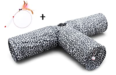 Feline Ruff Premium 3 Way Cat Tunnel. Extra Large 12 Inch Diameter and Extra Long. A Big Collapsible Play Toy. Wide Pet Tunnel Tube