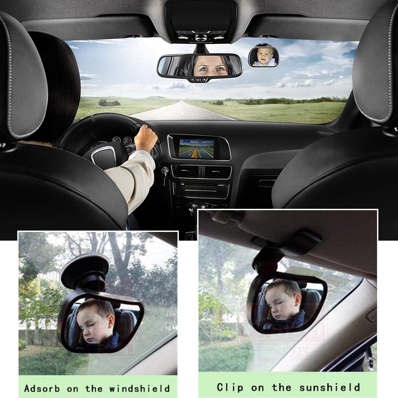 STARPIA Espejo Retrovisor de Coche para Vigilar al Beb/é en el Coche 360/° Ajustable Inastillable Interior Espejo Coche Beb/é Espejo de Seguridad para Ni/ños Ventosa /& Clip