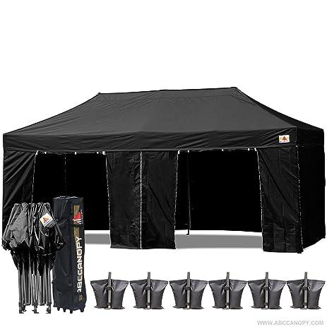 AbcCanopy 10 X 20 Black Ez Pop up Canopy Tent Commercial Instant Gazebos with 9 Removable  sc 1 st  Amazon.com & Amazon.com : AbcCanopy 10 X 20 Black Ez Pop up Canopy Tent ...
