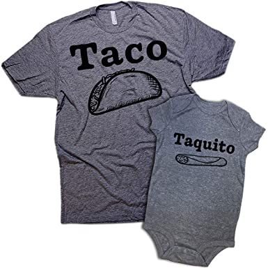 9717dc8fd Daft Baby | Taco & Taquito Dad & Baby Matching Clothing Shirt & Onesie Set  Graphite