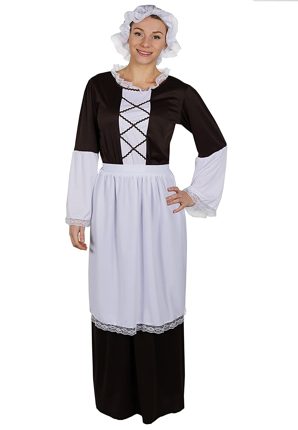White apron fancy dress - Ladies Tudor Maid Costume Including Brown Long Dress With White Detailing On Sleeve White Apron