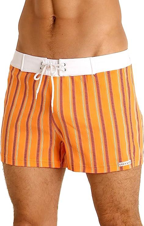 1960s Men's Clothing Sauvage Retro Swim Short Orange Stripe $78.00 AT vintagedancer.com
