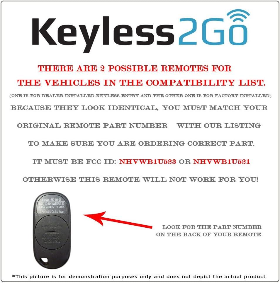 New Replacement Keyless Entry Remote Key Fob Clicker Transmitter  NHVWB1U523//521