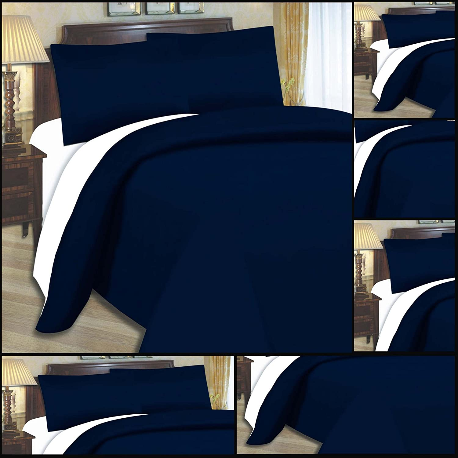 Adam Linens Luxury 4 PCS complete reversible duvet cover and fitted sheet bed set Double Size Navy Blue White Adam's