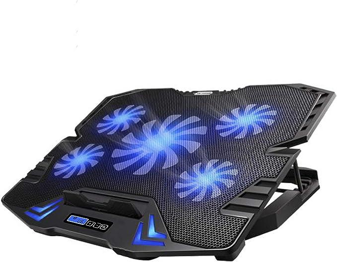 TopMate C5 10-15.6 Pulgadas Gaming Laptop Cooler Cooling Pad, 5 Ventiladores silenciosos y Pantalla LCD, 5 ajustes de Altura, 2 Puertos USB y luz LED Azul: Amazon.com.mx: Electrónicos