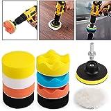 Kshineni Car Foam Drill 3-Inch Buffing Pad,11 Pcs Polishing Pads Kit,Car Buffer Polisher Kit Drill Buffing Kit for Car Polish