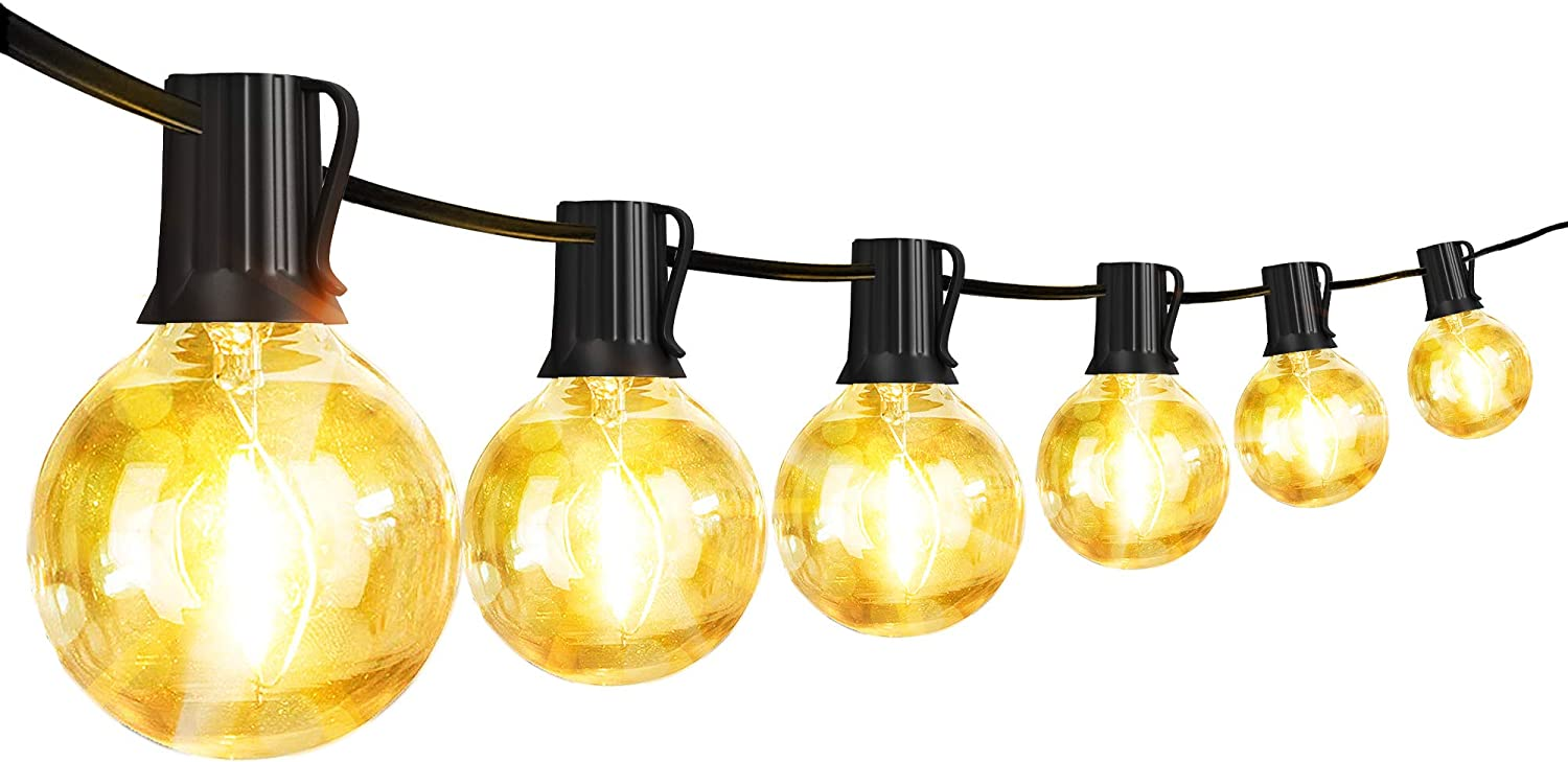 Edison Vintage String Globs Bulbs as Porch 23Ft G40 Dimmable Patio String Lights Outdoor Led String Lights Indoor Outdoor Globe Lights