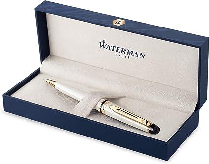 Waterman Expert bolígrafo, color marfil con adorno dorado, punta mediana con recambio de tinta azul, estuche de regalo: Amazon.es: Oficina y papelería