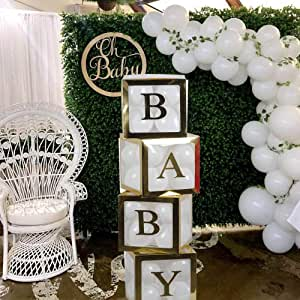 Baby Shower Boxes 4Pcs Transparent Balloon Box Balloon Clear Box for Baby First Birthday Party Decorations, Boys Girls Birthday Party Decorations, Home Decor(Gold Baby Blocks)