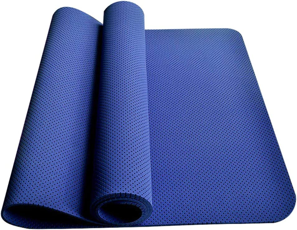 Yoga Fitness Mat, Fit Yoga Mat with Strap 1 6 inch TPE High Density Mats, Non Slip 1.1 Pounds Extra Lightweight