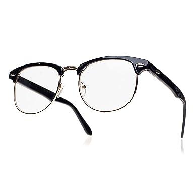 e5b7b12957928 Lentille Claire Lunettes Lens Style Mode Unisexe Jolie pour Geek Nerd Retro Round  Vintage lunettes Hommes Femmes (Retro Black lentille claire) MFAZ Morefaz  ...